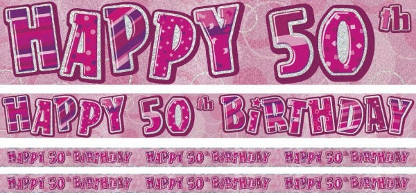50. Geburtstag Glitzer Banner Pink