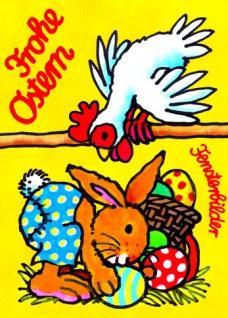 Fensterbild Postkarte Osterhase