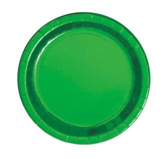 8 kleine Papp Teller Hochglanz Grün