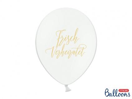 50 Hochzeit Luftballons Frisch Verheiratet in weiß mit gold
