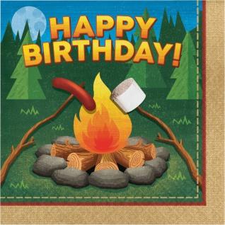 16 Geburtstags Servietten Lagerfeuer, Zelten und Angeln