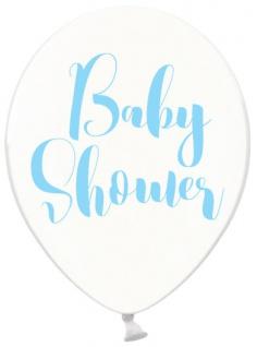 6 Baby Party Luftballons durchsichtig mit Baby Shower in Blau bedruckt
