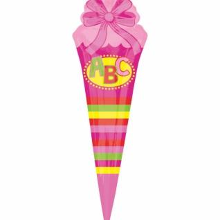 Schultüte Folienballon zum Schulanfang in Rosa 111cm
