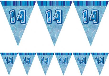 14. Geburtstag Wimpel Girlande Blau