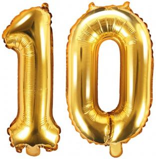 Folienballons Zahl 10 Gold Metallic 35 cm
