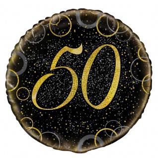 50. Geburtstag Folien Ballon Schwarz Gold