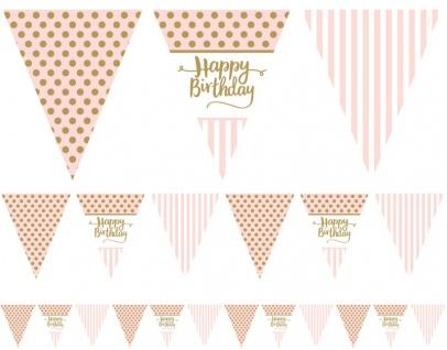 Happy Birthday Pink Chic Wimpel Girlande 3, 7m