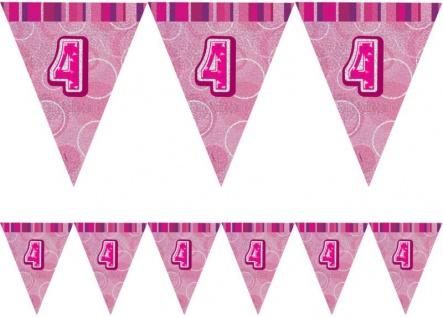 4. Geburtstag Wimpel Girlande Pink - Vorschau