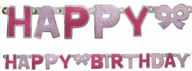 Glitzer Geburtstags Girlande Pink