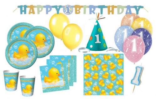 XXL 61 Teile 1. Geburtstag Baby Entchen Deko Set 16 Personen