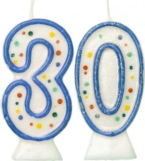 Glitzer Zahlenkerzen in Blau mit bunten Punkten 30
