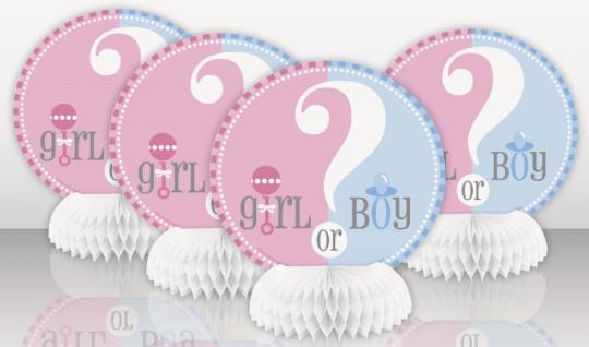 4 Mini Tischaufsteller Babyparty Junge oder Mädchen?