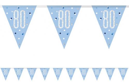 Wimpel Girlande Blue Dots Glitzer zum 80. Geburtstag
