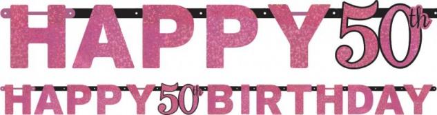 Geburtstags Girlande Glitzerndes Pink und Schwarz 50. Geburtstag