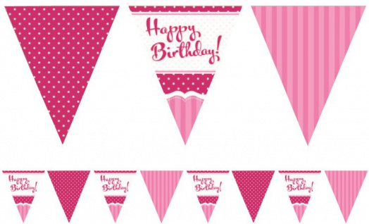 Papier Wimpel Girlande Perfectly Pink Happy Birthday