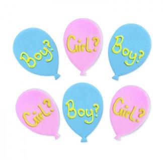 6 Zuckerfiguren Baby Party Ballons Junge oder Mädchen