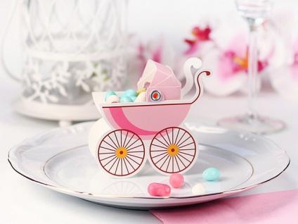 10 Karton Boxen in Kinderwagen Form rosa für die Tischdeko, Gastgeschenke - Vorschau 2