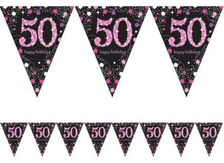 Wimpel Girlande Glitzerndes Pink und Schwarz 50. Geburtstag