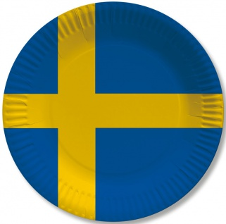 10 Papp Teller Schweden Party Deko