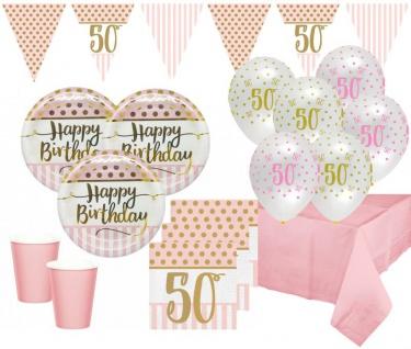 XL 44 Teile Rosa & Gold Glitzer Party Deko Set zum 50. Geburtstag für 8 Personen