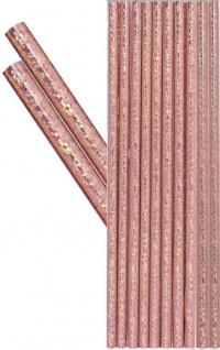 10 Papier Trinkhalme in glitzerndem Rosegold Metallic