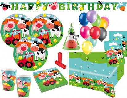 XL 65 Teile lustige Bauernhof Tiere Party Deko Set für 8 Kinder