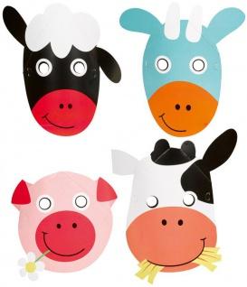 8 Masken lustige Bauernhof Tiere