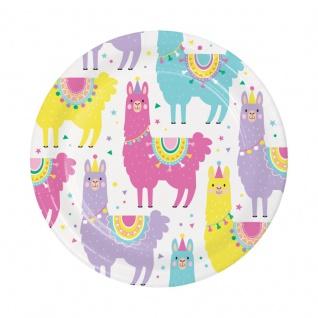 8 kleine Papp Teller bunte Lama Party
