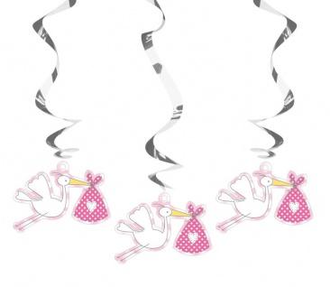 3 hängende Swirl Girlanden Baby Party Storch Rosa