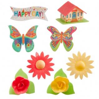 8 Teile Garten Set essbare Oblaten bunte Schmetterlinge und Blumen