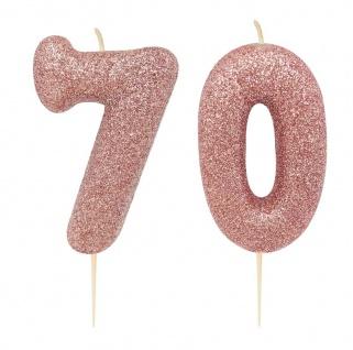Kuchen Kerze 70. Geburtstag Rosegold Glitzer