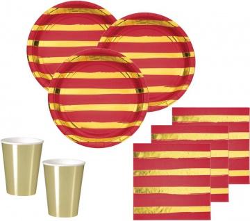 32 Teile Deluxe Party Deko Set Rot & Gold Glanz gestreift für 8 Personen - Weihnachten
