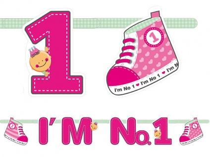 Erster Geburtstag Papier Girlande pink I'm No. 1