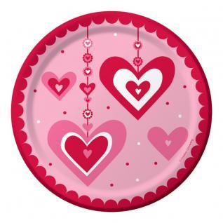 8 kleine Papp Teller hängende Herzchen