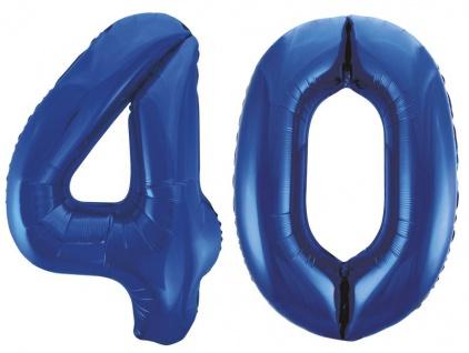 Folien Ballon Zahl 40 in Blau - XXL Riesenzahl 86 cm zum 40. Geburtstag in Blau - Jumbo