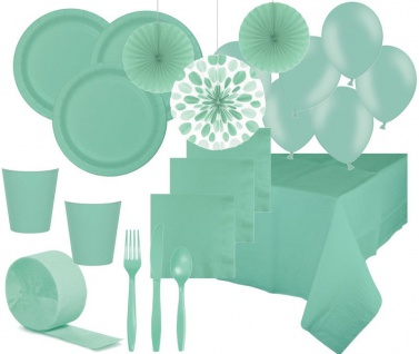 XXL Deluxe 75 Teile Party Deko Set Mint für 8 Personen