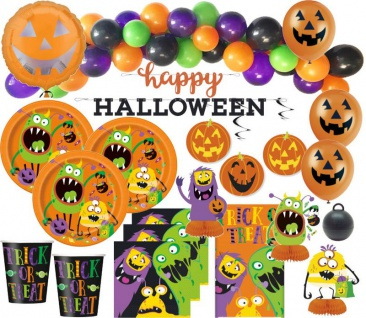 XXL 105 Teile Halloween Deko Set kleine Monster für 16 Kinder