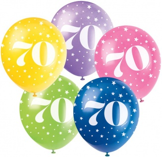 70. Geburtstag 5 bunte Luftballons