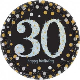 8 Teller Glitzerndes Gold und Schwarz 30. Geburtstag