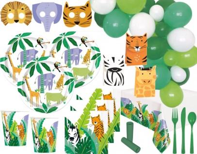 XL 107 Teile Safari und Dschungel Party Party Deko Set 6 Personen