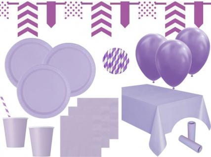 XL 85 Teile Party Deko Set Lavendel für 16 Personen
