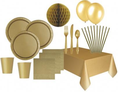XXL 80 Teile Party Deko Set Gold für 8 Personen
