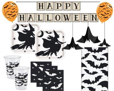 XXL 47 Teile Hexe und Fledermaus Halloween Party Set für 8 Personen