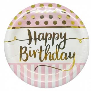 36 Teile Pink Chic Happy Birthday Party Deko Set in Rosa und Gold zum Geburtstag für 8 Personen - Vorschau 2