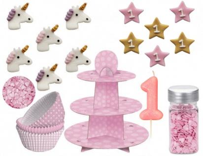 90 Teile Erster Geburtstag Rosa Einhorn Muffin Etagere + Backset Rosa für bis zu 75 Cupcakes