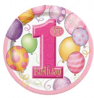 8 kleine Papp Teller Erster Geburtstag rosa Ballons