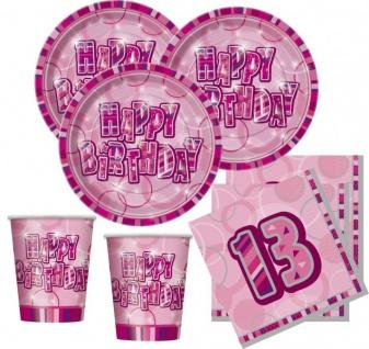 48 Teile zum 13. Geburtstag Party Set in Pink für 16 Personen