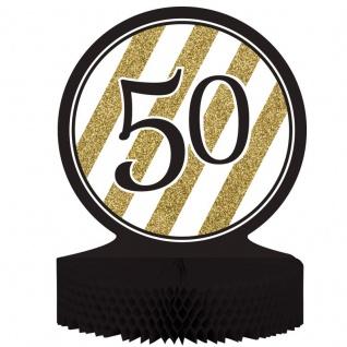 Tischaufsteller 50. Geburtstag Black and Gold