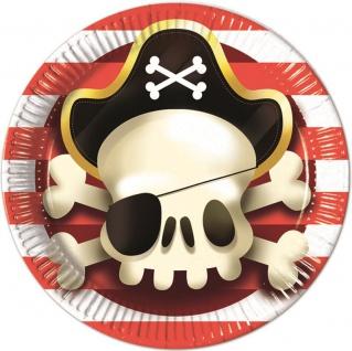 8 Papp Teller Piraten Jolly Roger Totenkopf