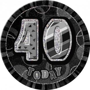 XXL Glitzer Button 40. Geburtstag Schwarz